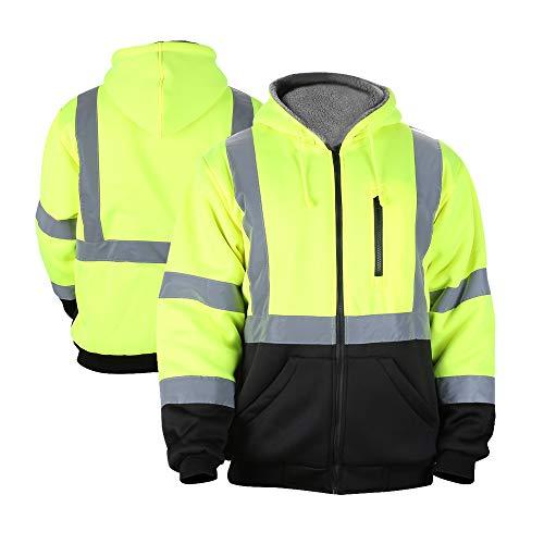 FONIRRA Men's High Visibility Safety ANSI Class 3 Lined Fleece Hoodie Sweatshirt with Black Bottom,Hi-Viz Jacket Hooded Jumper Workwear for Men(Yellow,L)