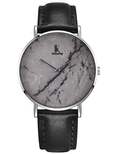 Alienwork Herren Damen Armbanduhr Quarz Silber mit Lederarmband schwarz grau echtes Marmor Zifferblatt
