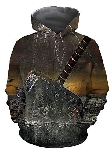 Morton PegfwaS Herbst Herren Sweatshirt, 3D Digitaldruck, Hoodie Loose Pullover Sweatshirt