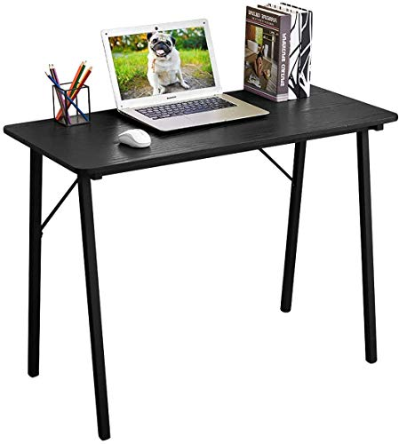 Coavas Schreibtisch Klein Computertisch Einfach Modern Büro Arbeitstisch Industrieller Stil Holzfaserplatte und Metallbeinen, 100x48x74cm, Schwarz