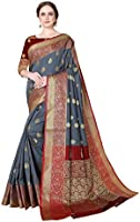 Cotton Shopy Women's Kanjivaram Art Silk Blend Jacquard Saree with Blouse Piece
