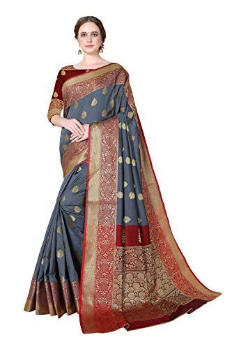 COTTON SHOPY Women's Banarasi Cotton Silk Saree With Un-stitched Blouse