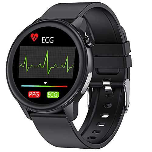 ECG Smartwatch Hombre, Impermeable IP68 Reloj Inteligente con Corporal Temperatura, Mujer Smart Watch con Monitor de Frecuencia Cardíaca Notificación de Mensajes Podómetro Monitor de Sueño (Negro)