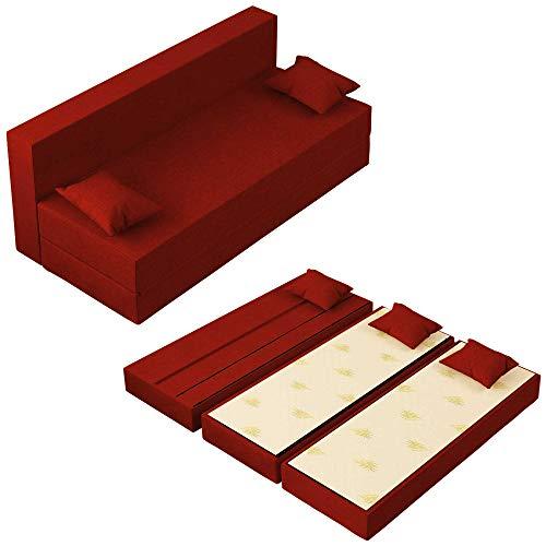 Baldiflex Divano Letto 3 Posti Modello TreTris Rivestimento Sfoderabile e Lavabile, Colore Rosso Pompeiano