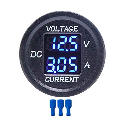 ZHOUMO Universal DC 9V bis 48V 10A Digital Voltmeter Amperemeter Spannungsstrommesser Messung LED Anzeige für 12V 24V 36V Elektrofahrrad Motorrad Auto LKW (Blau)