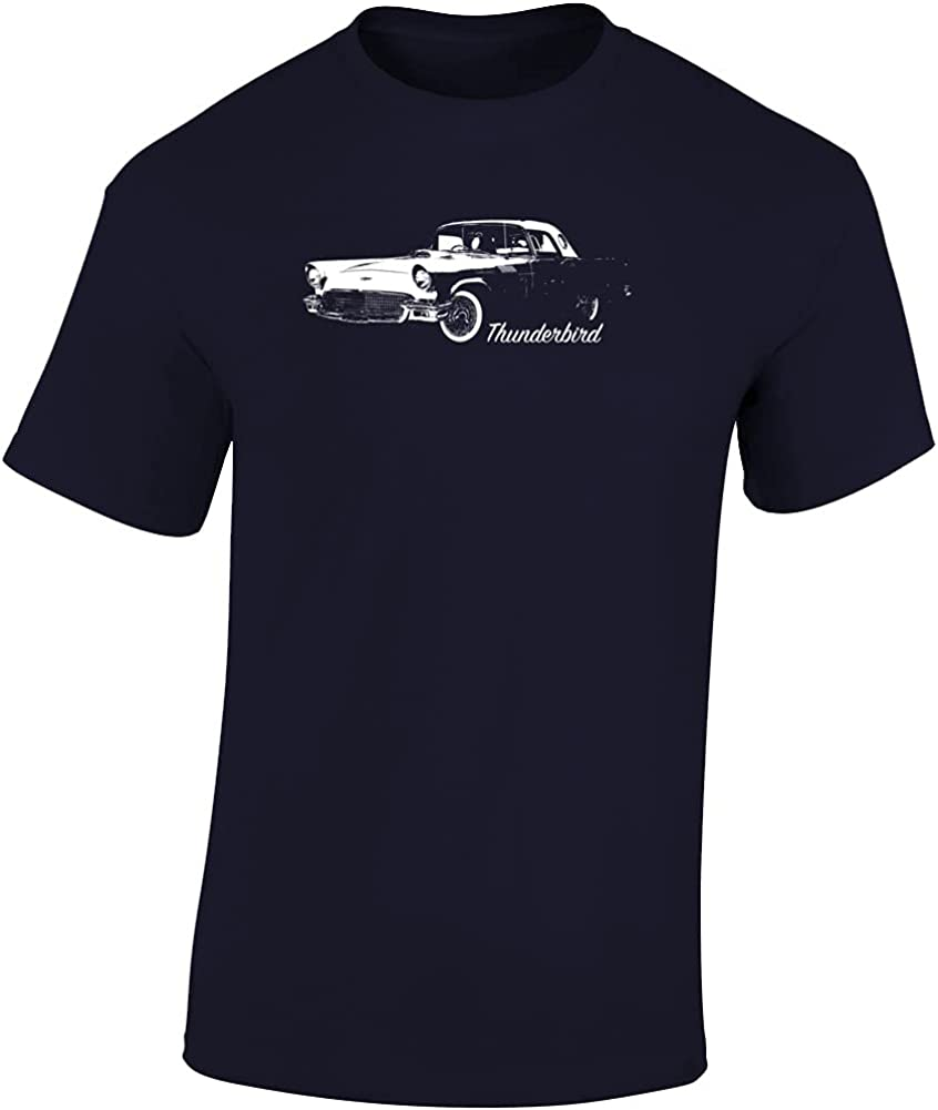CarGeekTees 1957 Ranking TOP2 Thunderbird Three Quarter Model with Detroit Mall View Angle