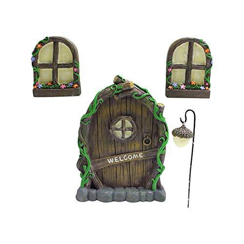 Fairy Door and Windows for Trees, Glow in The Dark Yard Art Sculpture Fairy Gnome Tree Decoration Miniature Fairy Garden Outdoor Decor Accessories with Bonus Fairy Lantern (4pc)