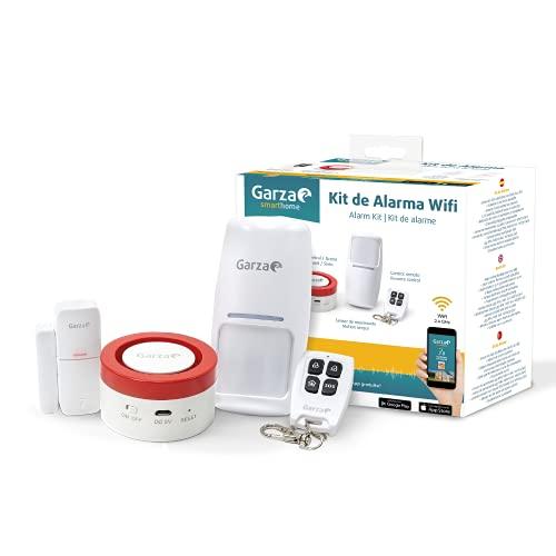 Garza  Smarthome - Kit sistema de alarma inteligente wifi para hogar. Gateway radiofrecuenta con sirena de 120 dB, sensor de Movimiento y de puertas o ventanas, control remoto a través de app