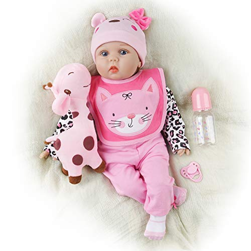 Yesteria Reborn Baby Doll Girl, 22 Inch Realistic Silicone Baby Doll, Weighed Reborn Girl Doll in Cat Outfit, with Accessories and Certificate of Adoption