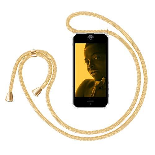 ZhinkArts Handykette kompatibel mit Apple iPhone 5 / 5S / SE (2016) - Smartphone Necklace Hülle mit Band - Handyhülle Case mit Kette zum umhängen in Gold