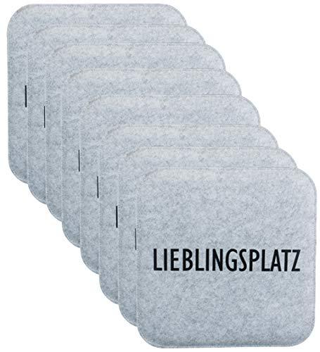 Brandsseller Wende-Sitzkissen Filz zweifarig Eckig Stuhlkissen Sitzpolster Auflagen - 35 x 35 x 1,0 cm (8er-Vorteilspack, Lieblingsplatz Anthrazit/Grau)