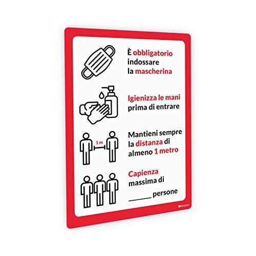 Adesivi e Cartelli Covid-19 Segnaletica con regole per bar e ristorazione, adesivo PVC e pannello Forex (Adesivo PVC lucido, A4 tipologia 5)