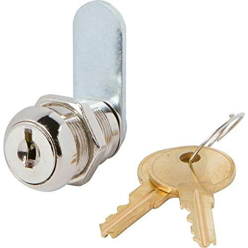 Disc Tumbler Cam Lock with 7/8 Cylinder and Chrome Finish, Keyed Alike