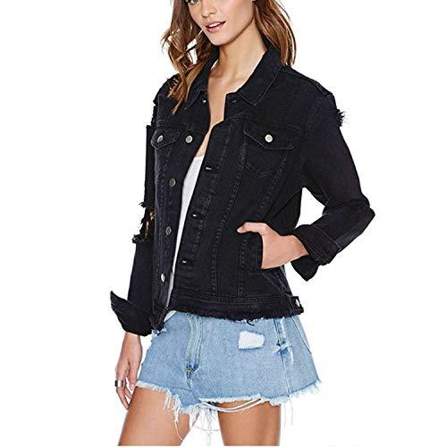 Donna Giacche Jeans Moda Nero Giacche Primaverile Autunno Manica Lunga Single Breasted Cavo Classiche Jeans Jacket Elegante Sciolto Casual Grunge Giacca Donne (Color : Nero, Size : S)