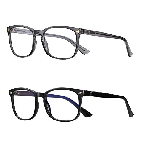 DUCO Round Frame Computer Reading/Gaming/TV/Phones Blue Light Blocking Glasses for Men and Women 5201S (Transparent Grey/Shine Black)