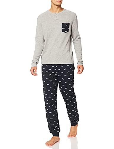 Springfield Pijama Motos Print Juego, Navy, XL para Hombre