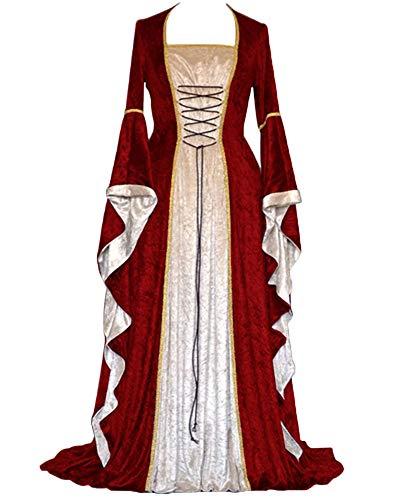 Suncaya Costume da Regina Medievale Donna Abito Vestito Eleganti Donna Abito da Principessa Medievale per Adulti Regina Vestito