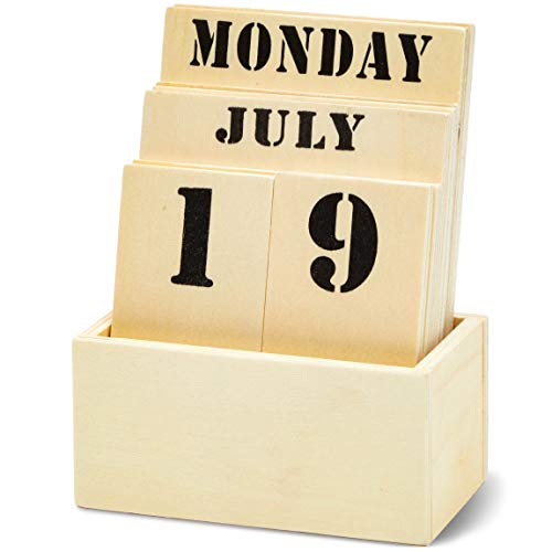 Wooden Desktop Perpetual Calendar