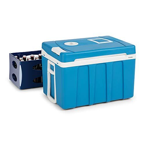 Klarstein BeerPacker Nevera portátil - Porta alimentos, Accesorio para picnic, 50L, Eficiencia energética A +++, Asas de transporte plegables, Manija y ruedas, Funcionamiento CA/CC, Azul