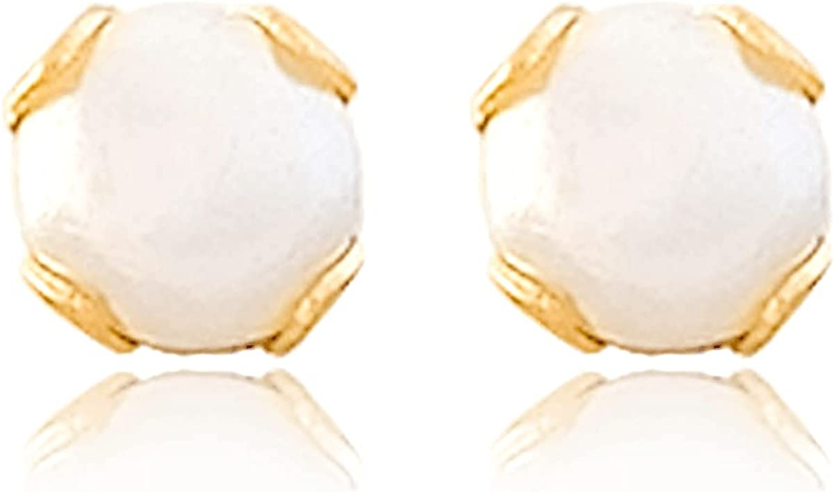 Cufflink Earrings 18k Gold Laminated #613 Ball Shape White Pearl 0.5 cm Length 0.5 cm Width
