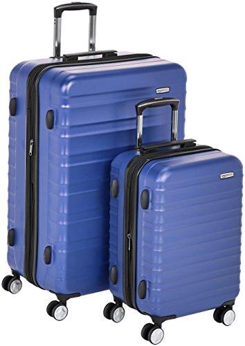 Amazon Basics - Maleta rígida «Hardside» de alta calidad, con ruedas giratorias y cerradura TSA incorporada - Juego de 2 unidades (55 cm, 78 cm), Azul