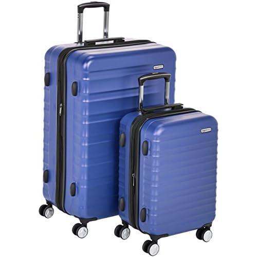 AmazonBasics - Trolley rigido premium, con rotelle pivotanti e lucchetto TSA integrato, Set da 2 pezzi (55 cm, 78 cm), Blu