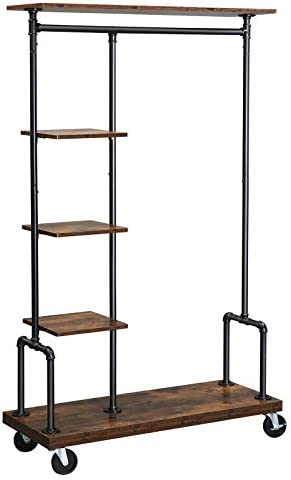 VASAGLE Clothes Rack Clothing Garment Rack on Wheels Rolling Clothes Organizer with 5 Tier Industrial product image
