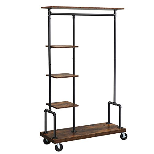 VASAGLE Clothes Rack, Clothing Rack on Wheels, 5-Tier Garment Rack with Metal Pipes, Rustic Brown UHSR66BX
