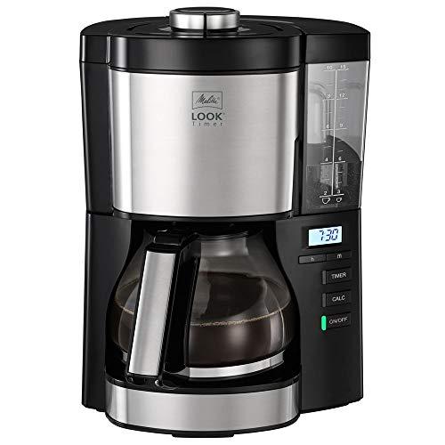 Melitta Look Timer 1025-08 Filterkaffeemaschine mit Timerfunktion, abnehmbaren Wassertank und Entkalkungsprogramm (schwarz), Kunststoff, 1.25 liters
