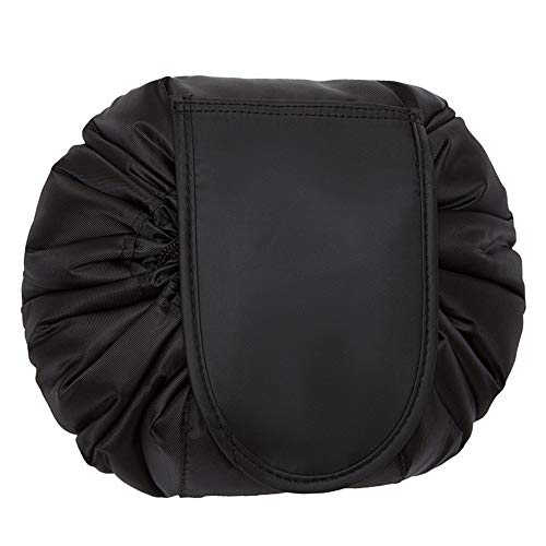 Sac Cosmétique de Stockage Cordon de Serrage Imperméable à Pochette de Maquillage Paresseux Sac Portatif de Toilette de Voyage de Grande Capacité (Noir)