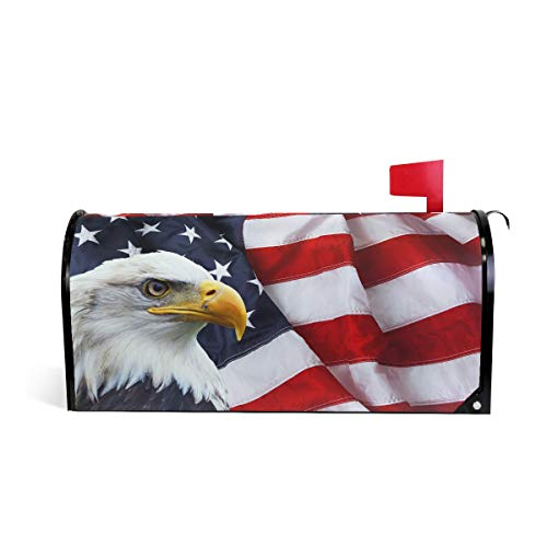 CFAUIRY Mailbox Cover Magnetic American Flag Eagle Mailbox Wraps Letter Box Cover Standard Large Size Garden Yard Home Decor