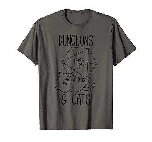 Mazmorras Y Gatos, D20 Dados Gato Nerd RPG Gamer Geek Regalo Camiseta
