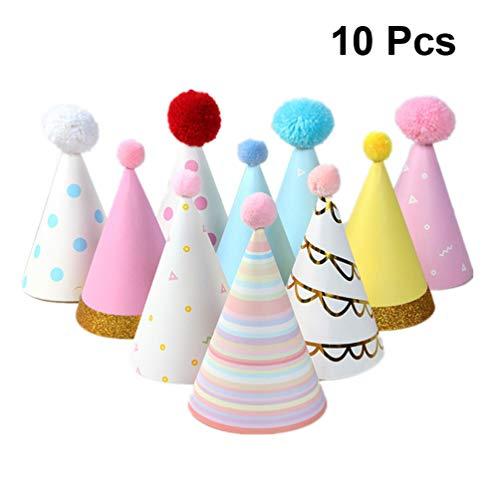 NUOBESTY Papierhütchen Geburtstag Partyhütchen Set für Kinder Und Erwachsene Sortiert 10-TLG