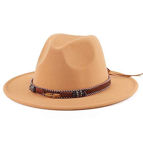 PORSYOND Sombrero Fedora de fieltro de ala ancha para hombres y mujeres, hebilla de cinturón Panamá Jazz Hat Trilby con banda de cuero
