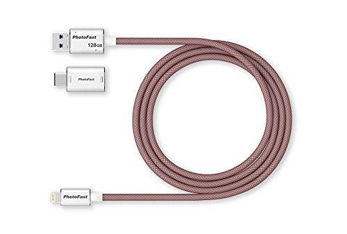 PhotoFast 73163 MemoriesCable 3G laad-/datakabel en externe USB 3.1 opslag voor Apple iPhone, iPad inclusief USB-C en microUSB-adapter, 1m zilver/rood