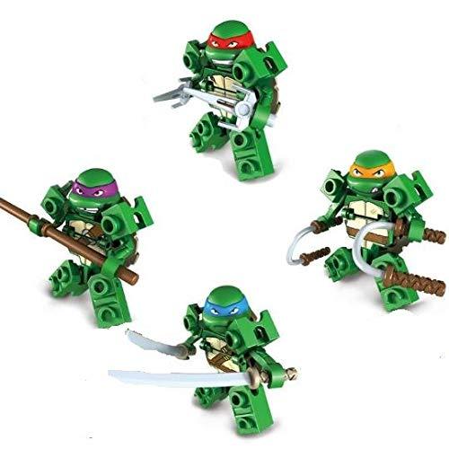 Set di 4 pezzi di personaggi Ninja Tartaruga - blocchi di costruzione, Michelangelo, Donatello, Raffaello, Leonardo giocattoli da costruzione - fit LEGO