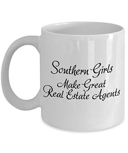 """Taza con texto en inglés """"Southern Girls Make Great Real Estate Agents""""; hecha a mano, divertida e inspiradora líneas inmobiliarias taza de café"""