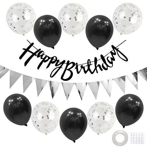 Geburtstag Dekoration Set,Silber Schwarz Happy Birthday Banner Set mit Luftballons Konfetti Ballons Dreiecksflaggen Girlanden für Geburtstag Deko Party Supplies