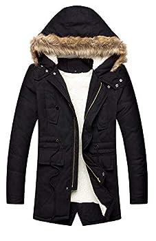 LILBETTER Men s Hooded Faux Fur Lined Warm Coats Outwear Winter Jackets  01 Black,X-Large