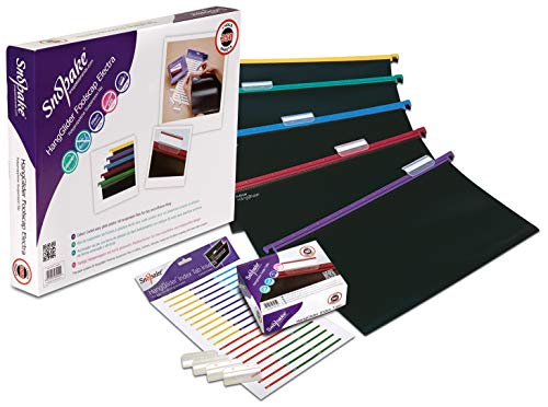 Snopake Foolscap HangGlider Polypropylene Suspension File with Index Tabs and Inserts [Pack of 25] Black/Assorted Rails [Ref: 10279]