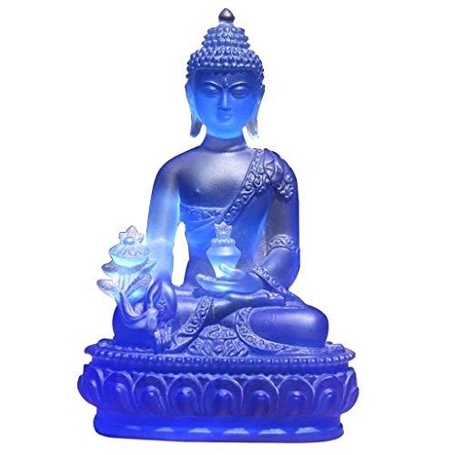 EURYTKS Ny Buddha-staty Buddha-staty av Sakyamuni färgad glasyr medicin mästare hemma, heminredning för medicin mästare 12 cm hög Buddha-skulptur Buddha-figurer