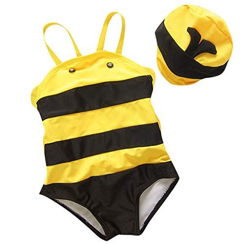 Caerling Baby Jungen Mädchen Bikini Süß Bademode Einteiler Badeanzug Kleine Biene Schwimmanzug mit Badekappe