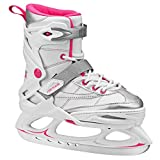 Lake Placid Monarch Girl's Adjustable Ice Skate White/Pink Small (11-2)