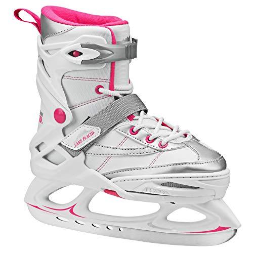 Lake Placid Monarch Girl's Adjustable Ice Skate White/Pink Medium (2-6)