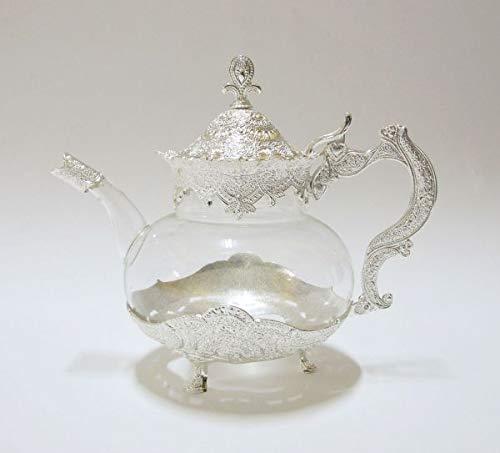 Orientalische Glas-Teekanne 1,0 L Silber verziert SR9692-GL