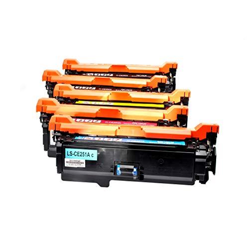 5 Logic-Seek Toner kompatibel mit HP CLJ CP 3525 Serie CE 250X - CE251A - CE252A CE253A - Schwarz je 10.500 Seiten, Color je 7.000 Seiten