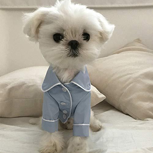 45532rr Puppy Overall Pyjamas Overalls weicher Baumwolle Jumpsuit Puppy Puppy Nette Simulierte Silk Pyjamas Outfit Haustier-Katze-Welpen, Größe: L (Pink) (Color : Blue)