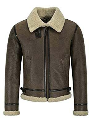 """Men's B3 Air Force Real Shearling Sheepskin Leather Jacket Aviator Pilot Reagan (M for Chest 40"""", Whisky/Beige Fur)"""