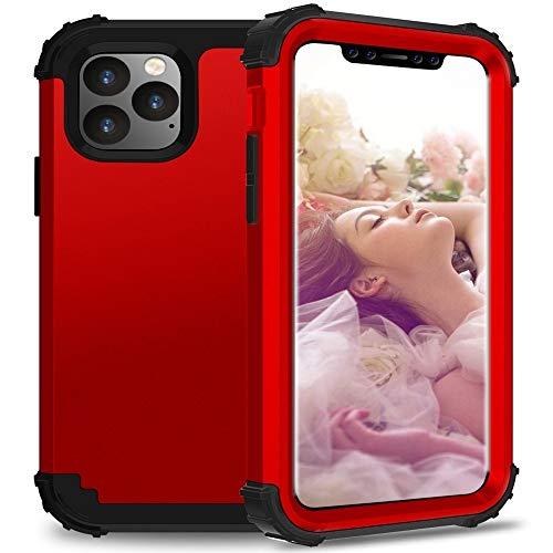 BANAZ For iPhone Pro 11 PC + Silicone Tres Piezas de la Anti-Gota Protección Móvil Cubierta (Color : Red)