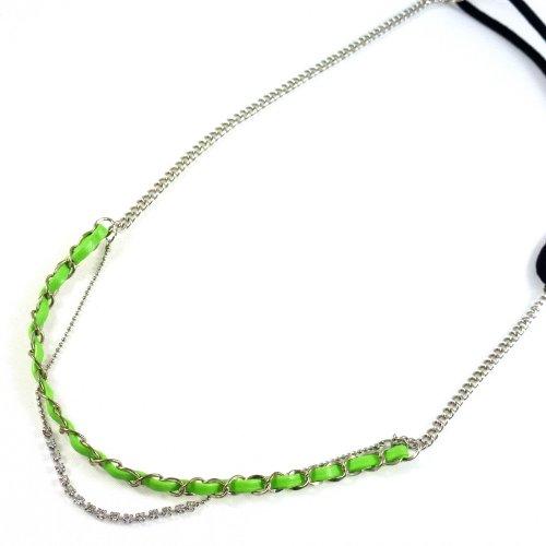 rougecaramel - Accessoires cheveux - Headband/bandeau/bijou de cheveux chaine maille fantaisie - vert
